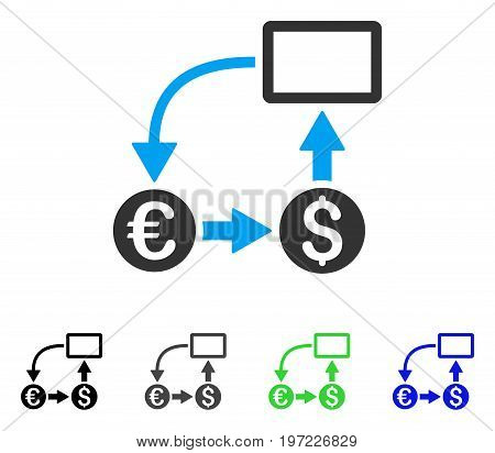 Cashflow Euro Exchange flat vector pictogram. Colored cashflow euro exchange gray, black, blue, green icon versions. Flat icon style for application design.