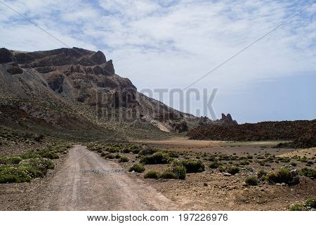 Road in the rocky mountains, route at volcano Teide, Tenerife, Canary Islands, Spain