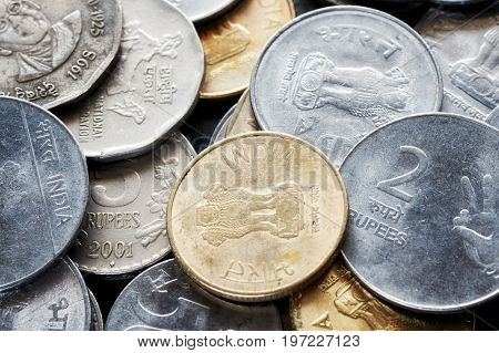 Extreme Close Up Picture Of Indian Rupee.