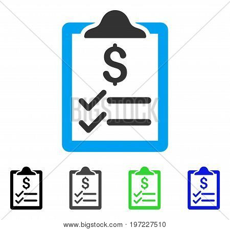 Invoice Pad flat vector pictogram. Colored invoice pad gray, black, blue, green icon versions. Flat icon style for application design.