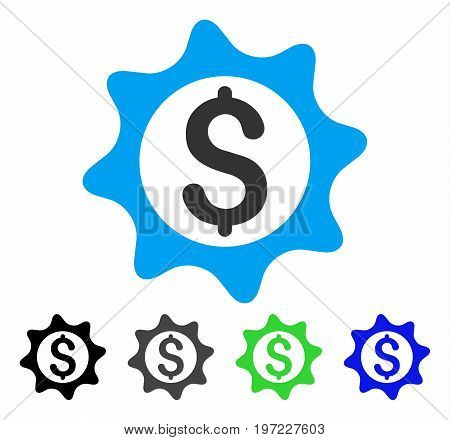 Money Seal flat vector pictograph. Colored money seal gray, black, blue, green pictogram variants. Flat icon style for graphic design.