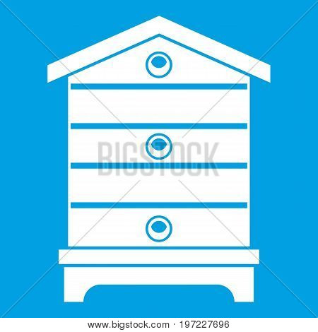 Hive icon white isolated on blue background vector illustration