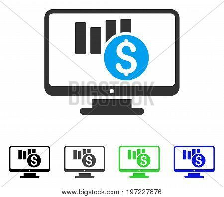 Sales Chart Monitoring flat vector illustration. Colored sales chart monitoring gray, black, blue, green icon variants. Flat icon style for graphic design.