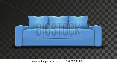 Blue sofa single object realistic design on transparent background vector illustration