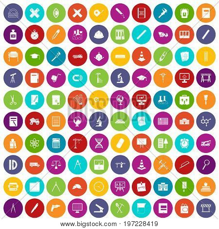 100 compass icons set in different colors circle isolated vector illustration