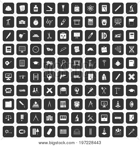 100 compass icons set in black color isolated vector illustration