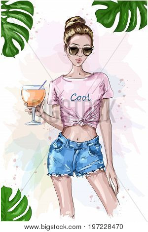 Cute stylish girl in crop top. Summer look. Fashion woman holding cocktail drink glass. Sketch. Summer set with green leaves. Vector illustration.