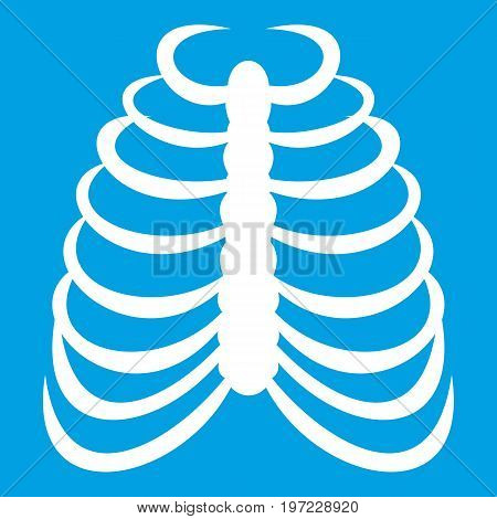 Rib cage icon white isolated on blue background vector illustration