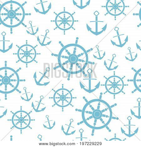 anchor helm isolated background pattern white silhouette sea