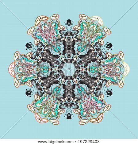 Vector snowflakes pattern. Vector cute snowflakes on colorful background. Vector illustration.