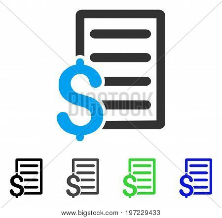 Business Contract flat vector pictograph. Colored business contract gray, black, blue, green icon variants. Flat icon style for application design.