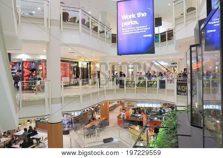 BRISBANE AUSTRALIA - JULY 9, 2017: Unidentified people visit Myer department store on Queen Street mall in downtown Brisbane.