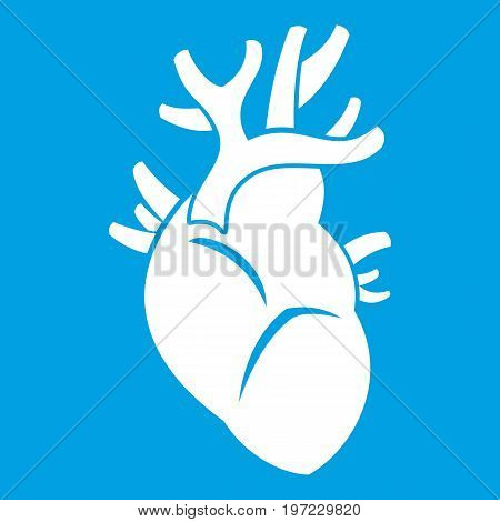 Heart icon white isolated on blue background vector illustration