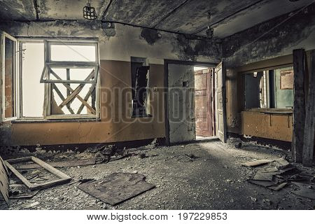 Abandoned building.Reception in an old abandoned house