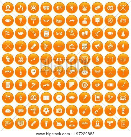 100 meeting icons set in orange circle isolated on white vector illustration