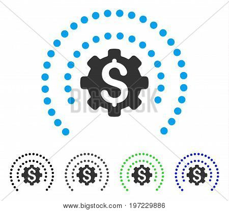 Financial Industry Protection Dotted Sphere flat vector icon. Colored financial industry protection dotted sphere gray, black, blue, green pictogram versions. Flat icon style for graphic design.