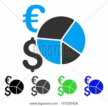 Financial Pie Chart flat vector pictograph. Colored financial pie chart gray, black, blue, green pictogram variants. Flat icon style for application design.