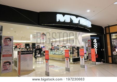 BRISBANE AUSTRALIA - JULY 9, 2017: Myer department store on Queen Street mall in downtown Brisbane.