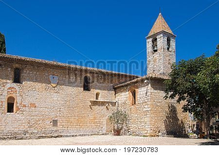 Bell tower of Saint Gregoire church at Tourrettes-sur-Loup in southeastern France, region Provence, department Alpes Maritimes