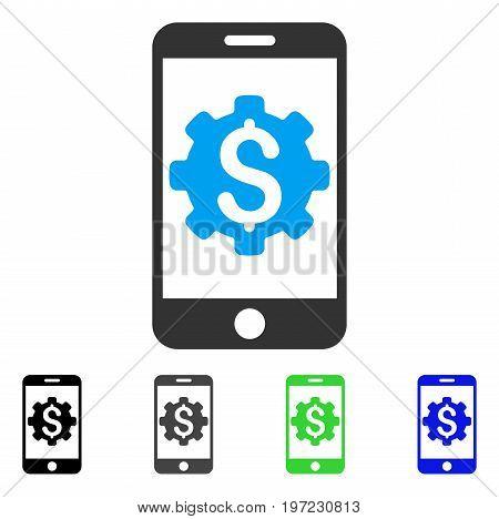 Mobile Bank Setup flat vector illustration. Colored mobile bank setup gray, black, blue, green icon variants. Flat icon style for web design.