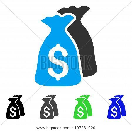 Money Bags flat vector icon. Colored money bags gray, black, blue, green icon variants. Flat icon style for web design.