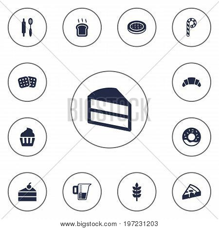 Collection Of Striped Lollipop, Slice Bread, Sweetmeat And Other Elements.  Set Of 13 Pastry Icons Set.