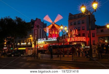 Paris, France-July 25, 2017 : The famous cabaret Moulin Rouge is located close to Montmartre in the Paris.