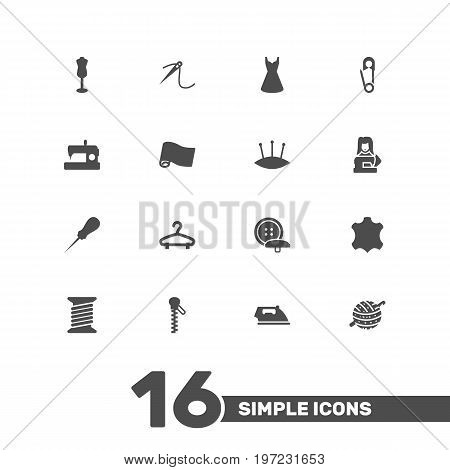 Collection Of Knitting, Eyelet, Spool And Other Elements.  Set Of 16 Tailor Icons Set.