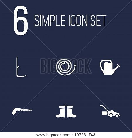 Collection Of Rubber Boots, Cutter, Watering Can And Other Elements.  Set Of 6 Farm Icons Set.