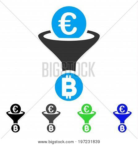 Euro Bitcoin Conversion Funnel flat vector pictogram. Colored euro bitcoin conversion funnel gray, black, blue, green icon versions. Flat icon style for application design.