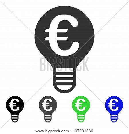 Euro Bulb flat vector pictogram. Colored euro bulb gray, black, blue, green icon variants. Flat icon style for application design.