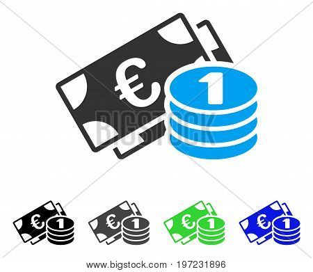 Euro Cash Money flat vector pictogram. Colored euro cash money gray, black, blue, green pictogram variants. Flat icon style for graphic design.