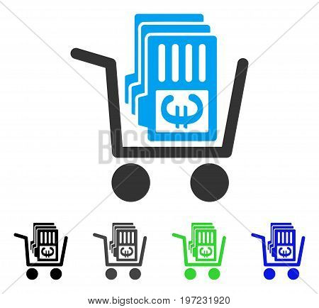 Euro Cash Out Cart flat vector icon. Colored euro cash out cart gray, black, blue, green pictogram variants. Flat icon style for graphic design.