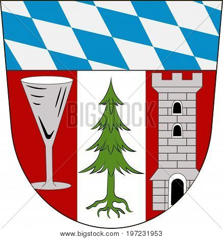 Coat of arms of Regen is a district in Bavaria Germany. Vector illustration from the