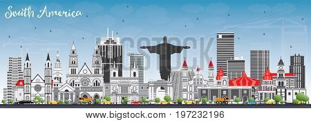 South America Skyline with Famous Landmarks. Business Travel and Tourism Concept. Image for Presentation, Banner, Placard and Web Site.