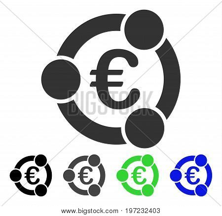 Euro Collaboration flat vector pictogram. Colored euro collaboration gray, black, blue, green icon variants. Flat icon style for web design.