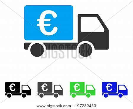 Euro Collector Car flat vector icon. Colored euro collector car gray, black, blue, green icon variants. Flat icon style for graphic design.