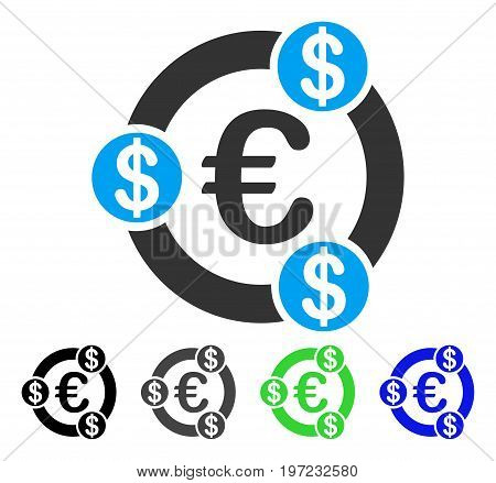 Euro Financial Collaboration flat vector icon. Colored euro financial collaboration gray, black, blue, green icon versions. Flat icon style for graphic design.