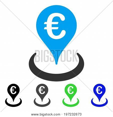 Euro Location flat vector pictograph. Colored euro location gray, black, blue, green pictogram versions. Flat icon style for application design.