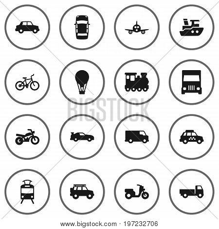 Collection Of Motorbike, Airship, Scooter And Other Elements.  Set Of 16 Shipping Icons Set.