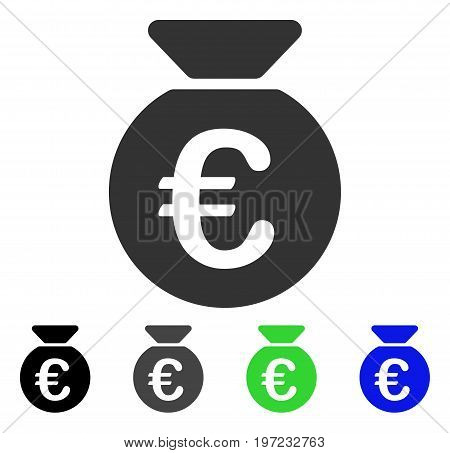 Euro Money Bag flat vector illustration. Colored euro money bag gray, black, blue, green pictogram variants. Flat icon style for graphic design.