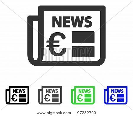 Euro Newspaper flat vector icon. Colored euro newspaper gray, black, blue, green pictogram versions. Flat icon style for graphic design.