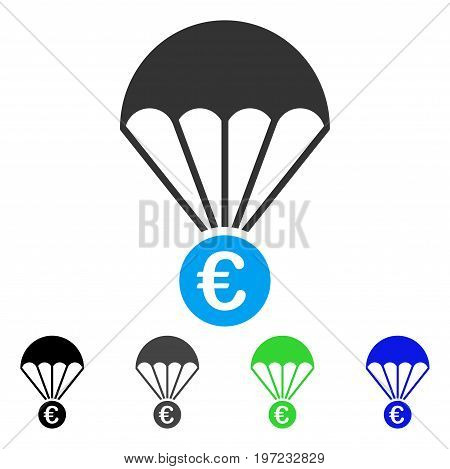 Euro Parachute flat vector pictograph. Colored euro parachute gray, black, blue, green icon variants. Flat icon style for web design.