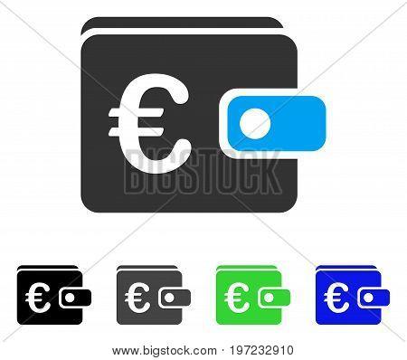 Euro Purse flat vector icon. Colored euro purse gray, black, blue, green icon versions. Flat icon style for web design.