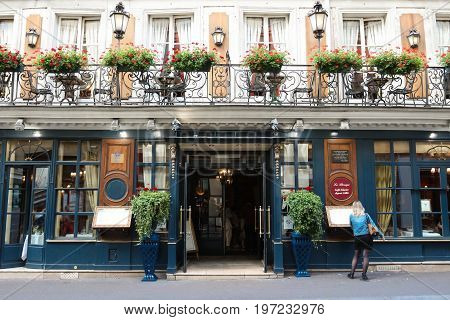 PARIS, FRANCE - JULY 25, 2017: historical Cafe Procope. It is the oldest restaurant of Paris in continuous operation - it was opened in 1686 by Sicilian Francesco Procopio. In Paris on July 25, 2017.