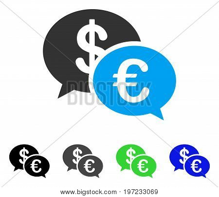 Euro Transaction Messages flat vector icon. Colored euro transaction messages gray, black, blue, green icon versions. Flat icon style for graphic design.