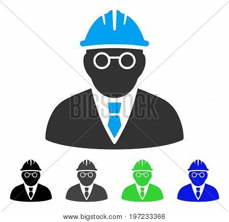 Clever Engineer flat vector pictograph. Colored clever engineer gray, black, blue, green icon variants. Flat icon style for web design.