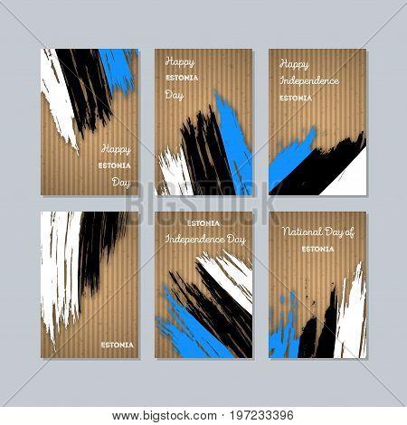 Estonia Patriotic Cards For National Day. Expressive Brush Stroke In National Flag Colors On Kraft P