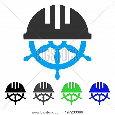 Covered Steering Wheel flat vector icon. Colored covered steering wheel gray, black, blue, green icon variants. Flat icon style for application design.