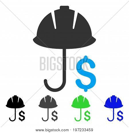 Development Financial Coverage flat vector illustration. Colored development financial coverage gray, black, blue, green pictogram variants. Flat icon style for web design.